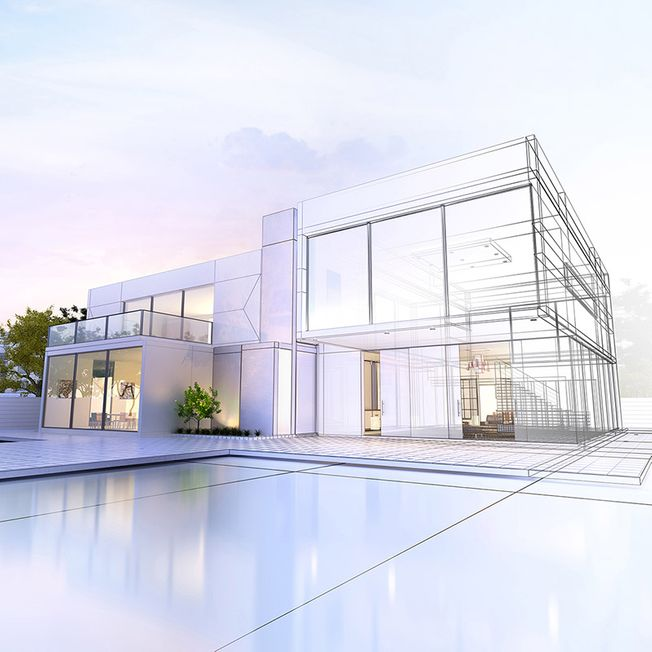 Architectural rendering of modern house